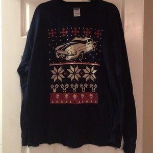 Gildan Shirts Ford Mustang Ugly Christmas Sweater Tshirt Navy